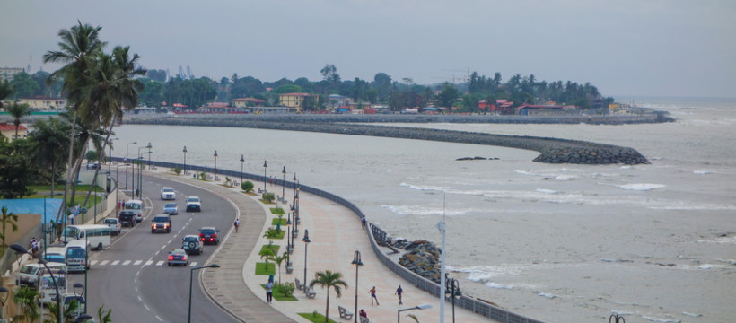 Bata, Equatorial Guinea - January 19, 2015: The waterfront is a popular destination for tourists and locals alike